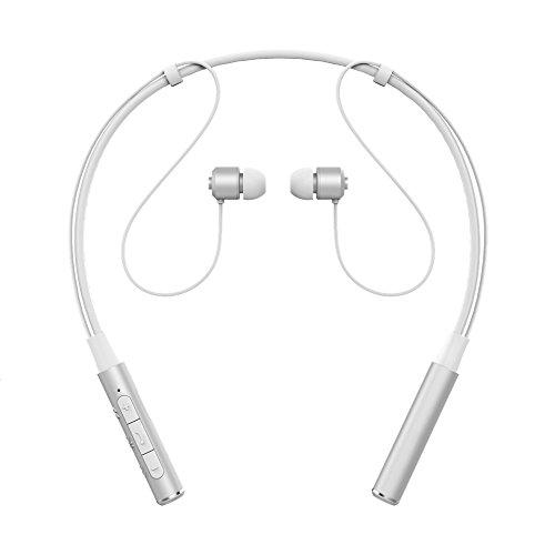 Bluetooth イヤホン X-LIVE スポーツヘッドホン 防汗 防滴 ネックバンド型 ブルートゥース イヤホン カナル ワイヤレスヘッドセット CVC6.0 ノイズキャンセリング マグネット機能 高音質 ハンズフリー 通話 マイク 外れにくい シールバー