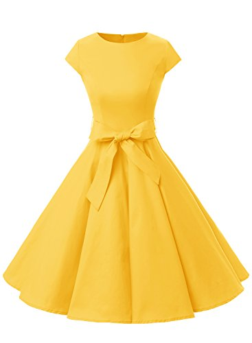 Dressystar レデイーズドレス ビンテージスタイルドレス 1950年代 ピンナップポルカ スイングドレス カクテルドレス フォマールワンピース イエロー L