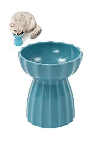 pidan 猫ボウル 陶器 猫食器スタンド 猫食器台 脚付フードボウル 餌入れ ペット 手作られた陶器 美しいデザ...