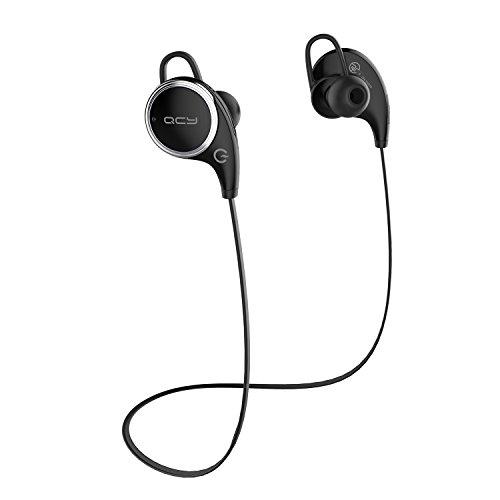 QCY QY8 MK-II AAC APT-X iphone7 対応 ブルートゥースイヤホン Bluetooth 4.1 ワイヤレスイヤホン マイク内蔵 ハンズフリー 通話 CSR 8645 CVC6.0 ノイズキャンセリング 防水 / 防汗 高音質 スポーツイヤホン 技適認証済  ブラック