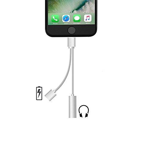 iPhone 7 イヤホン変換ケーブル iPhone7 Lightning iPhone 7 Plus ヘッドホンジャック変換アダプタ 3.5mm端子マイクイヤホンアダプタ Lightningコネクタ 充電口付き 音楽を聴くながら充電可能