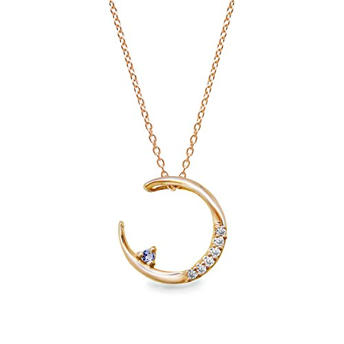 [ミワホウセキ] miwahouseki 幸運の 月 モチーフ 選べる 誕生石 付き ピンク ゴールド ダイヤモンド ネックレス 12月 タンザナイト