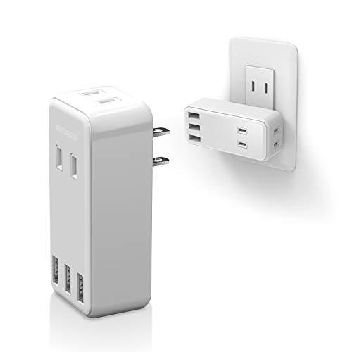 エレコム 電源タップ USBタップ 2.4A (USBポート×3 コンセント×2) 直挿し ホワイト ECT-03WH 【100均】L型プラグ(横)が超使いやすくてオススメ!コンセント周りがスッキリ!