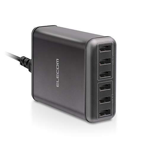エレコム USB 充電器 ACアダプター コンセント 急速充電器 [ 60W / USB-A×6 ] 電源ケーブル PSE認証済 1.5...