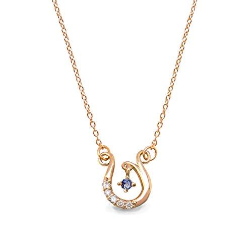 [ミワホウセキ] miwahouseki 幸せ 舞い込む ホースシュー & 選べる 誕生石 付き ピンク ゴールド ダイヤモンド ネックレス 12月 タンザナイト