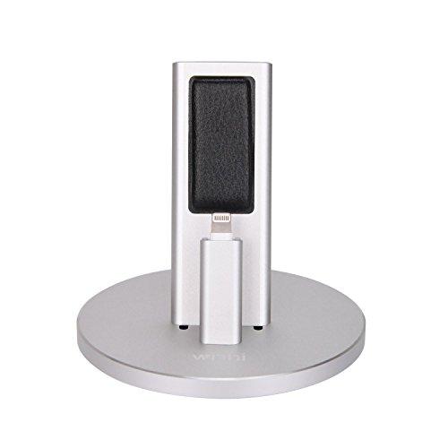 Winhi iPhone充電スタンド クレードル ドック Apple専用卓上ホルダー 充電器 iPhone 7/ 7plus/6s/6/6s plus/6 plus/5s/5c/5/iPad Pro/iPad Air2/Air対応 調整可能 アルミ 高級 耐久 装着簡単 金 銀 グレーシルバー