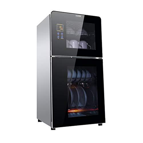 キッチン用垂直消毒キャビネット2層式消毒食器棚ホーム小型高温消毒キャビネット多機能100L美容消毒キャビネット 業務用食器洗い乾燥機 (Color : Black, Size : 43*36*85cm)