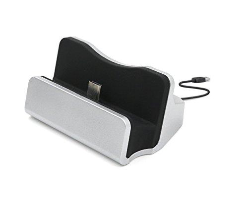 Xperia XZ / Xperia X Compact / Xperia XR 卓上ホルダー【KuGi】 Type-C 充電 卓上ホルダー 充電スタンド クレードル 充電器 データ同期 USB Type-C クレードル ドック ケース装着まま使用可能 Google Nexus 5X / Nexus 6p / Huawei p9 / Nokia N1 / Xperia XZ / Xperia X Compact / au LGV34 isai Beat など 対応 シルバー