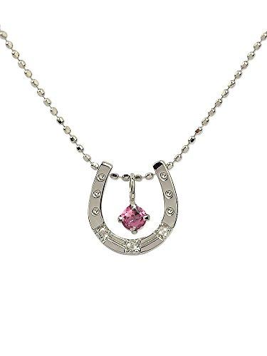 [四葉のクローバー] ピンクトルマリン ダイヤモンド 10金 馬蹄 ネックレス 40cm K10 ホワイトゴールド 10月 誕生石 レディース 女性:Ma363