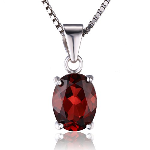 JewelryPalace 誕生石 1月 天然石 ガーネット ネックレス ペンダント スターリング シルバー 925 チェーン 45cm