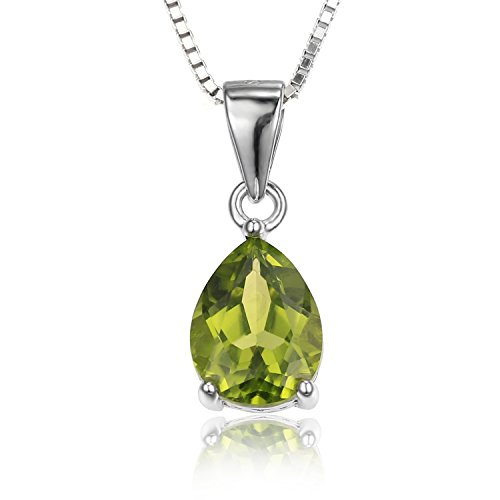 JewelryPalace 1.46ct 天然石 ペリドット 8月 誕生石 ペア カット しずく シャイプ 925 スターリング シルバー ペンダント ネックレス 45cm チェーン