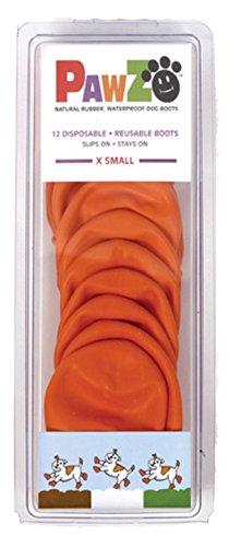 ポウズ (PAWZ) ラバードッグブーツ オレンジ XS 犬の肉球が剥がれて血が出た時の対処法。肉球の代用アイテム。イヌの足の裏を守り舐めるのや病気を防ぎ散歩もさせて元気で長生き。