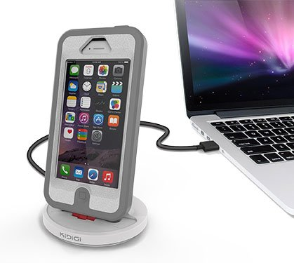 KIDIGI iPhone6 / iPhone6 Plus / iPhone5 用 Otterboxなどタフケース 対応 充電クレードル Rugged Case Compatible Sync  Charge Dock Mfi認証 ホワイト