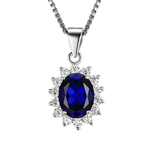 JewelryPalace Kate Diana(ダイアナ) プリンセス デザイン 天然石 9月 誕生石 ブルー サファイア ネックレス ペンダント シルバー 925 チェーン 45cm