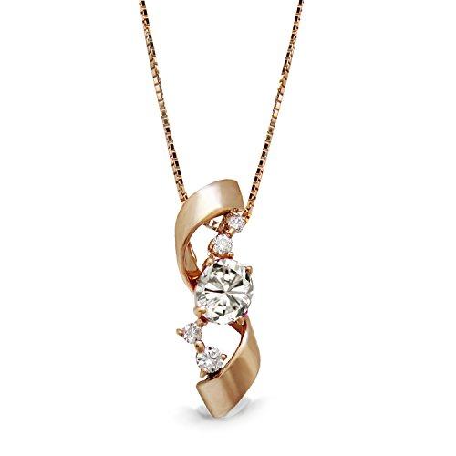 [ミワホウセキ] miwahouseki 幸せ 結ぶ 誕生石 付き エレガント リボン モチーフ ピンク ゴールド 4月 ダイヤモンド ネックレス