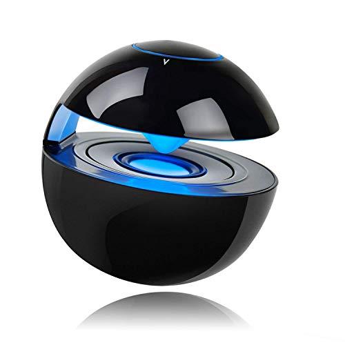ミニBluetoothスピーカー【LEDライト付き/通話機能/マイク内蔵/SDカードサポート】贈り物にも最適(ブラック)