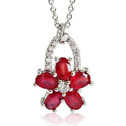 【鑑別書付】 計3ct 天然 ルビー フラワー 桜 さくら サクラ ネックレス ペンダント K18GP 宝石の女王 7月誕生石
