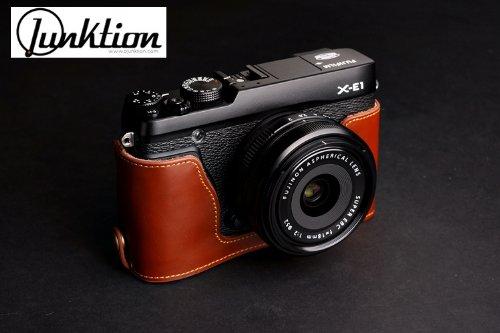 Hand Made Leather Camera Half Case For Fujifilm X-E1 / X-E2 with Hand Strap - Brown