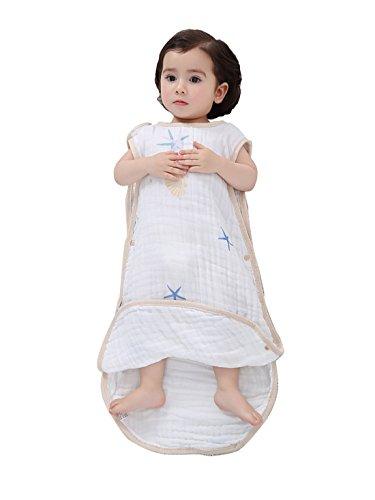新生児~3歳頃 高品質 ふわふわ 肌触り抜群 スリーパー めくれ防止 ボタン開閉式 寝袋 (L, 青)