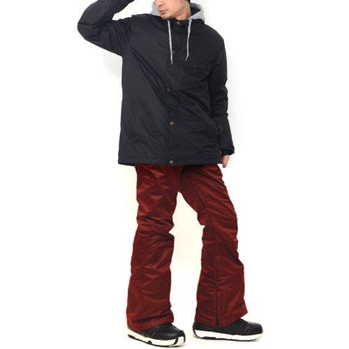 REVERSE EDGE(リバースエッジ) スノーボード ウェア メンズ 上下 セット コーチジャケット Mサイズ 【2】ブラック(無地)-バーガンディ(PANTS)スリムFit snow-a-M-EJM1511-BK-EPM1528-BU