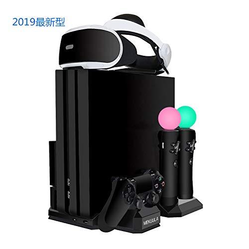 PS4スタンド PS4/PS4 PRO/PS4 SLIM/PSVR 縦置き スタンド プレイステーション4 PS Moveモーション コントローラー 多機種充電 冷却 収納 多機能縦置きスタンド ホルダー 最新型 日本語説明書付 1年保証 黒