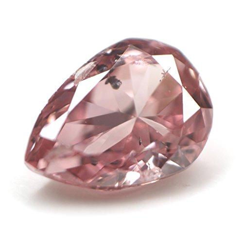 天然ピンクダイヤモンド ルース(裸石) 0.108ct, Fancy Deep Pink ( ファンシー・ディープ・ピンク AGT)・Fancy Intense Pink ( ファンシー・インテンス・ピンク CGL ) I-1 ペアシェイプ