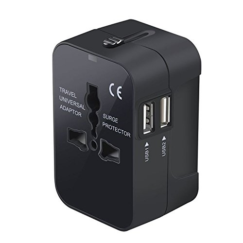 安全旅行充電器 海外旅行用変換プラグ150国通用 二個USB充電ポート付き(US / UK / EU / AU)AC電源アダプタ 急速充電 スマホ(iPhone7/iPhone7 Plus) / タブレット / パソコンなど対応 黒