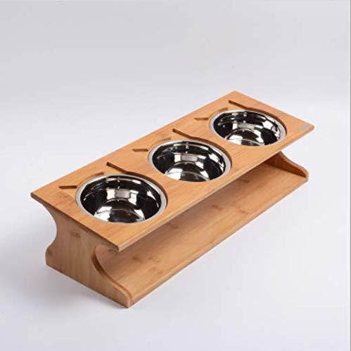 【LeRight】 猫 ペットボウル (3個タイプ) 器 木製 スタンド フードボウル フードスタンド 餌入れ 食器 傾...