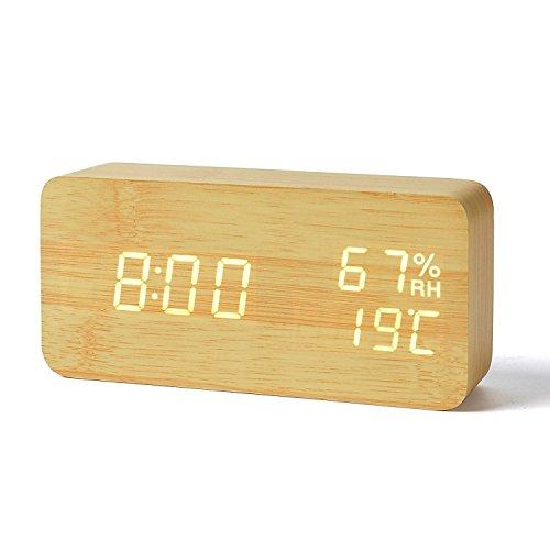 FiBiSonic® デジタル 置き時計 LED 目覚まし時計 大音量 アラーム カレンダー付 温度湿度表示 音声感知 USB給電 木目調 ナチュラル風(茶・白字)