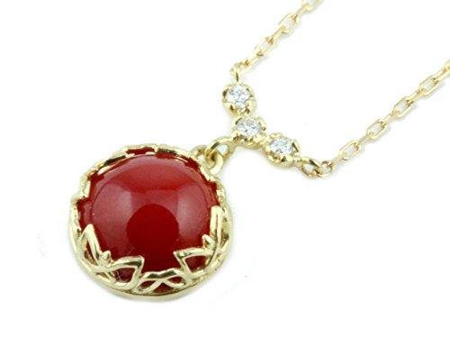 日本産 赤 珊瑚 サンゴ プチ ネックレス ダイヤ モンド イエロー ゴールド K18YG プレゼント