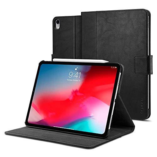 【Spigen】 タブレットケース iPad Pro 12.9 ケース カバー 傷防止 カメラ保護 PUレザー 手帳型 収納 スタンド オートスリープ スタンドフォリオ 068CS25646 (ブラック)