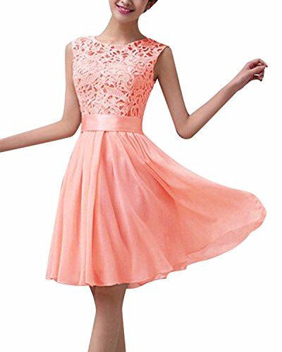 ZANZEA レディース ドレス ワンピース レース フォーマル ノースリーブ ひざ丈 披露宴 パーティー 結婚式 ワンピース ドレス y-ピンク M