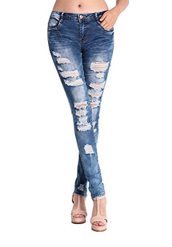 MCUKAY ダメージ スキニージーンズ テーパードデニム レディースファッション パンツ ストレッチ ロング 夏