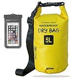 笑顔一番 防水 ドライバッグ + スマホ 用 防水ケース セット 5L 10L 20L 25L 30L 防水バッグ (5) イエロー, 25L)