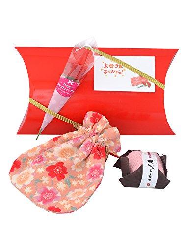 母の日 ギフト ラッピング付 和風 ポーチ と 和菓子風 ハンカチ ギフト セット 贈り物 (お母さんありがとうメッセージカード付)