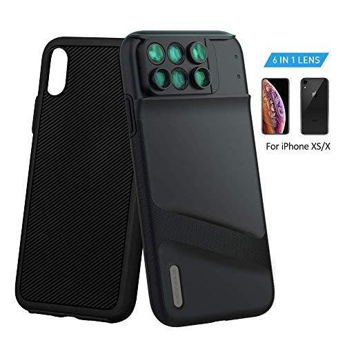 MOMAX 6in1 iPhone Xカメラレンズ 自撮り 魚眼レンズ マクロレンズ 広角レ ンズ 望遠レンズ 多機能ケース付き iPhone Xに対応 ブラック (iPhoneX)