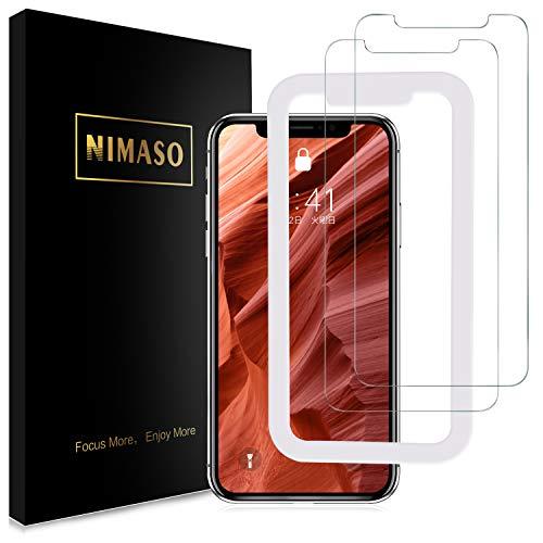 【ガイド枠付き】【2枚セット】 Nimaso iPhone XR 用 強化ガラス液晶保護フィルム 硬度9H/高透過率/貼り付...