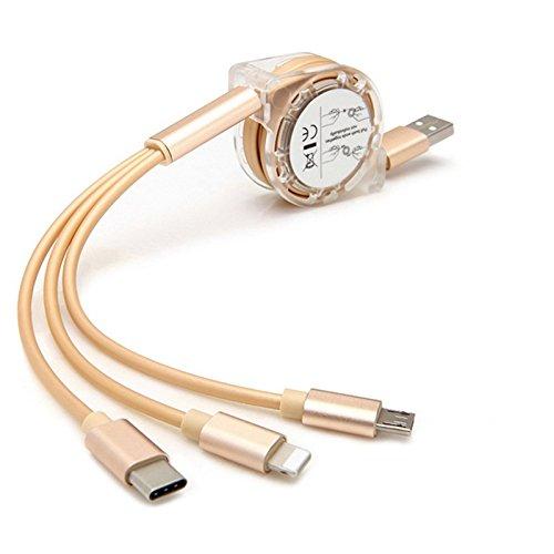 AXYO タイプC & micro USB & lightning (iphone) 3in1 充電 ケーブル USB ケーブル 巻き取り 伸縮式 収納型 1M ライトニング+Type-C+マイクロUSB 急速充電ケーブル iPhone / iPad / Xperia XZ1 / Xperia XZ1 Compact / Xperia XZ Premium SO-04J / Xperia X Compact SO-02J / Huawei / ASUS / Galaxy / AQUOS Androidなどほぼすべてのスマートフォンに対応 (3IN1ケーブル 100cm, ゴールド)