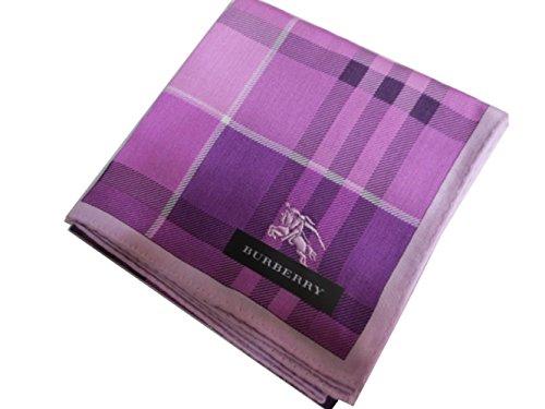ホースマーク刺繍の紫チェックのハンカチ
