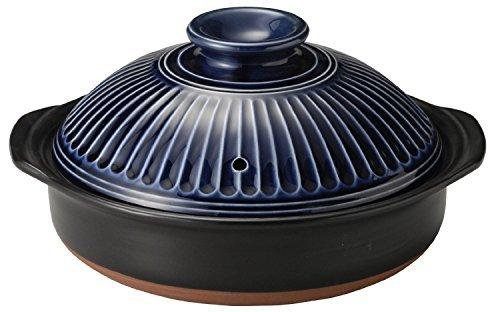 萬古焼 銀峯陶器 菊花 土鍋 (瑠璃釉, 9号)