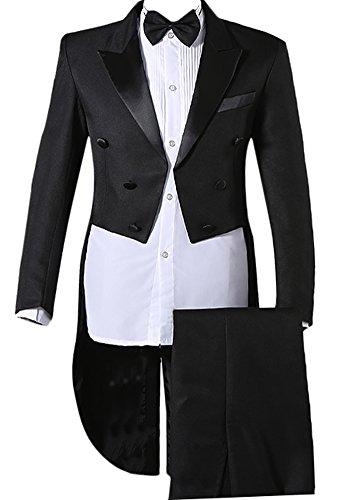 Enteriza タキシード 燕尾服 メンズ ダブルボタン パンツ ベルト ボータイ付き 4点セット スーツ 上下セット (L, ブラック)