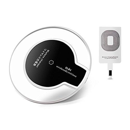 Ewin® Qi ワイヤレス充電器 シングルコイル PowerPort Qi 置くだけ充電 iphone 7/7 plus/6 plus/6/6s/5 対応 Galaxy S6 / S7 / S6 Edge / S7 Edge,Nexus 4 / 5 / 6 / 7 (第2世代 2013) / LG G3 / その他Qi対応機種 (iphone用レシーバー付き)