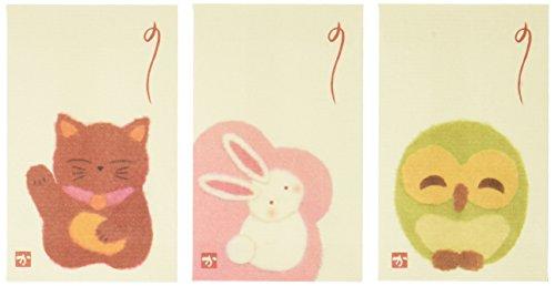 【Amazon.co.jp 限定】和紙かわ澄 和紙ぽち袋 ちぎり絵 招き猫 花うさぎ 福ろう 3種各5枚 15枚入