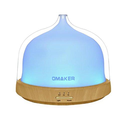 Omaker アロマディフューザー 200mL 超音波式加湿器 (睡眠モードあり/7色変換LED付き/空焚き防止機能搭載)タイマー動作機能搭載 アロマライト OMC110