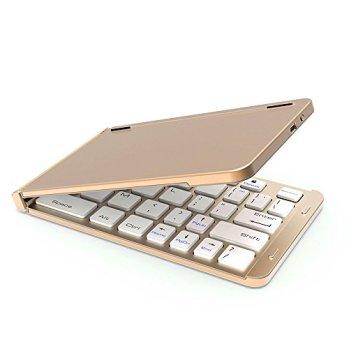 KIKIGOAL 折りたたみ式bluetooth キーボード 140g 超軽量 薄型 ワイヤレスキーボード 携帯便利 Windows、Android、iOS 、Mac、各OSに対応 日本語説明書と一年間保障付き (ゴールド)