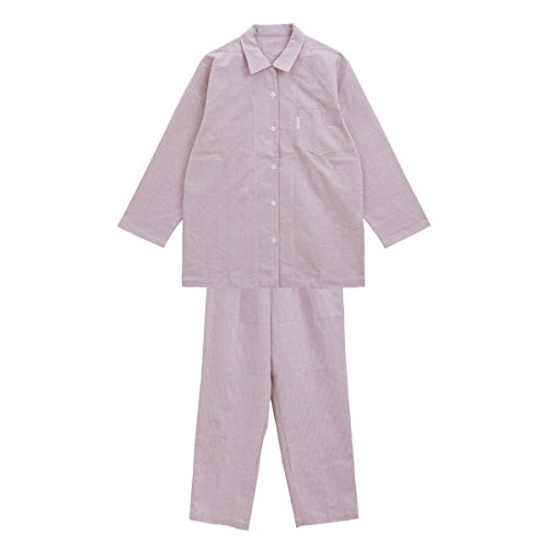 (ワコール)Wacoal 睡眠科学 オックス シャツパジャマ ルームウェア長袖 綿100%(RE-レッド、MP)