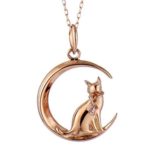 SUEHIRO ネコ ダイヤモンド ピンクゴールド ペンダント ネックレス 猫 6月 誕生石 ムーンストーン アクセサリー