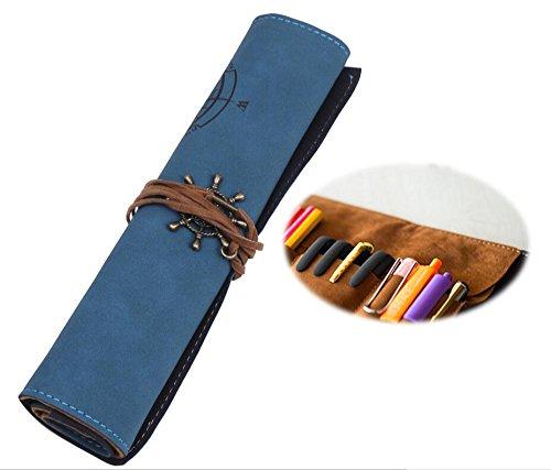 ペンケース ロール 型 紐 ペン 収納 ケース 文具 筆記用具 筆記具 道具 入れ 巻き 筆 革 巻物型 筆箱 筆入れ