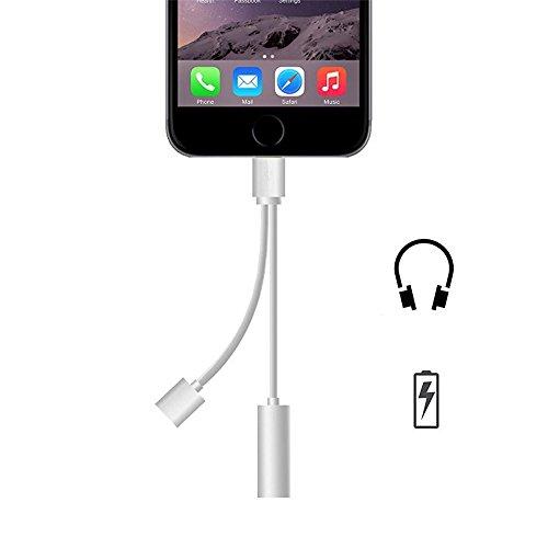 WOPOW® iPhone7/iPhone7 Plus IOS10.0.3対応 ライトニングポート ライトニングケーブル 3.5mm オーディオジャック イヤホン 変換アダプタ 充電可能イヤホン出力ケーブル 4色対応 1本 シルバー
