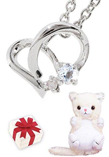 [アリゼ]Alize 全12種類 白猫 ぬいぐるみ ダイヤモンド 6月 誕生石 ムーンストーン シルバー 925 オープン ハート レディース ネックレス